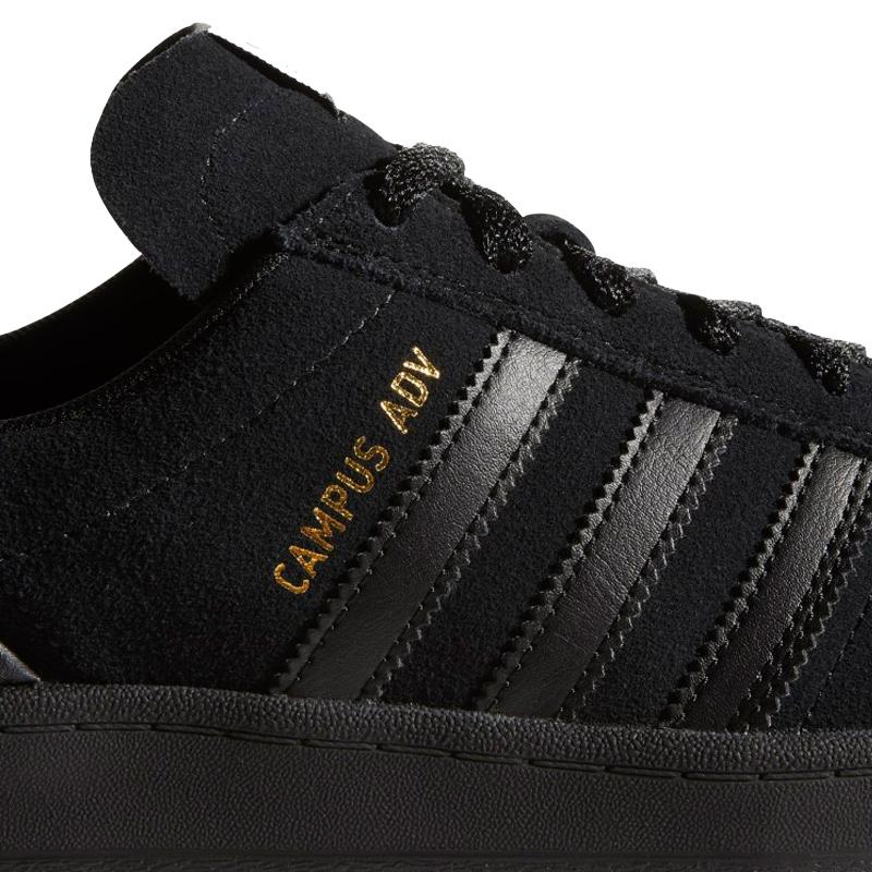 adidas Campus Adv Cblack/Ftwwht/Goldmt Mens US 7 - Eur 40 - Skatestore.com