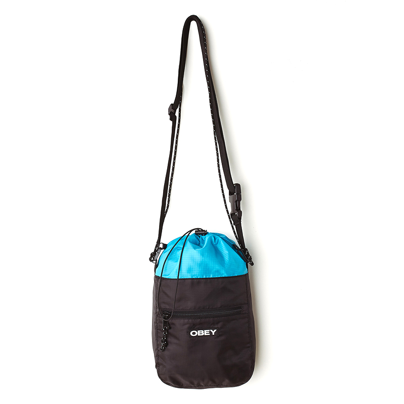Obey Commuter Cinch Bag Black/Sky Blue