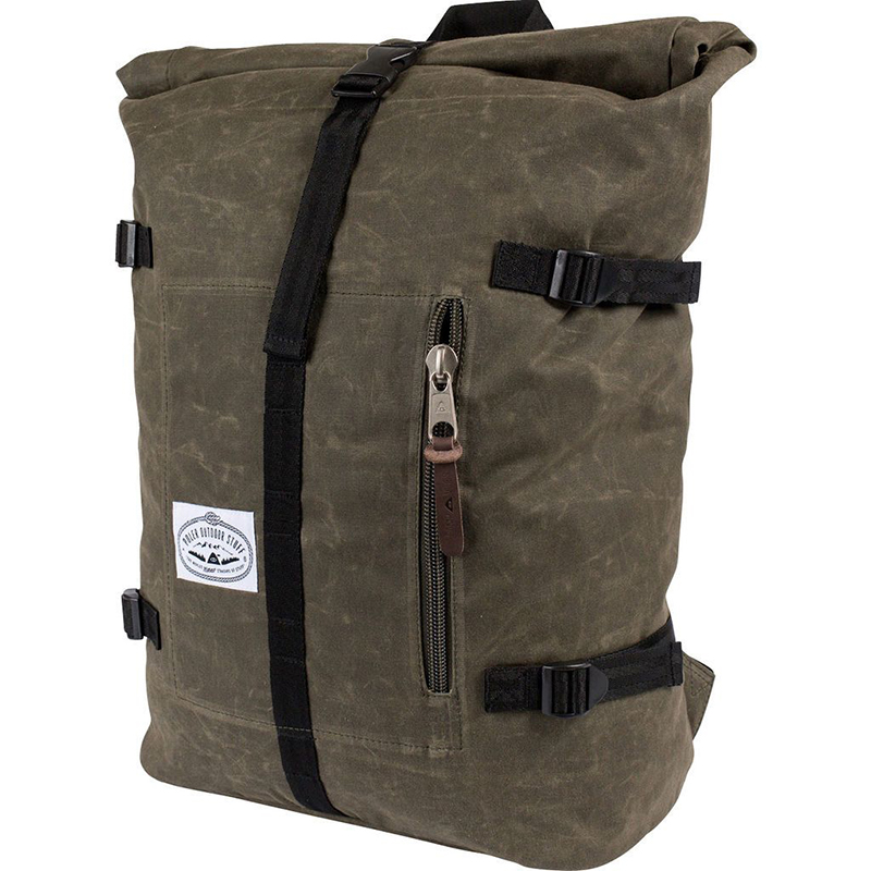 Poler Classic Rolltop Backpack Waxed Burnt Olive