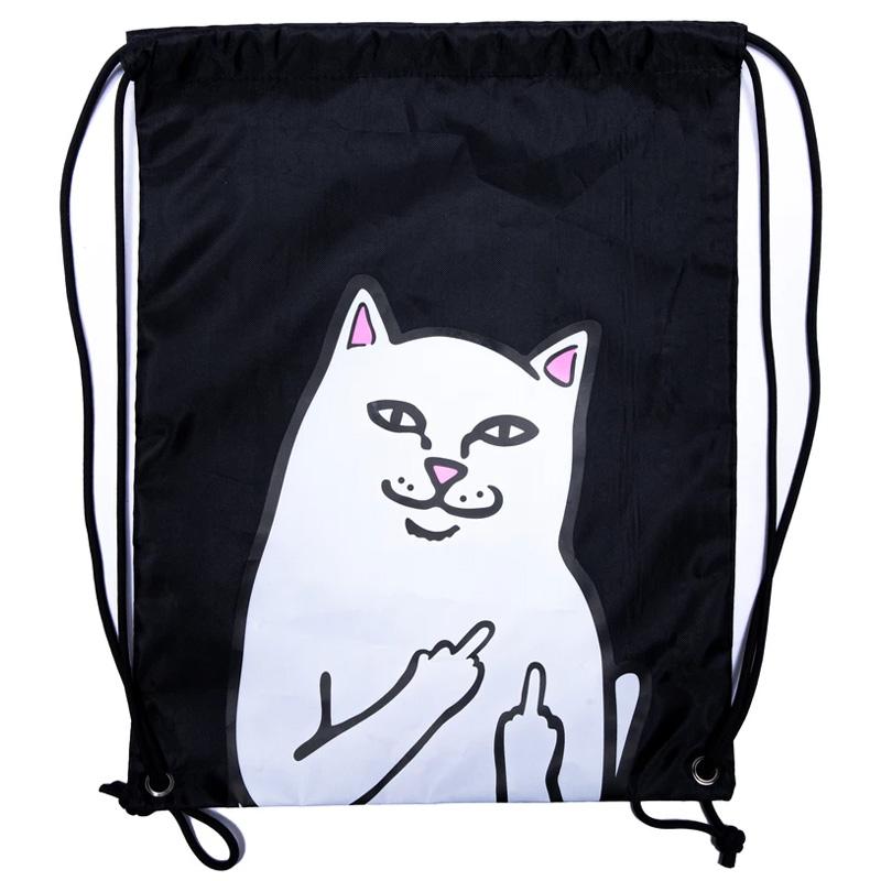 RIPNDIP Lord Nermal Drawstring Bag Black