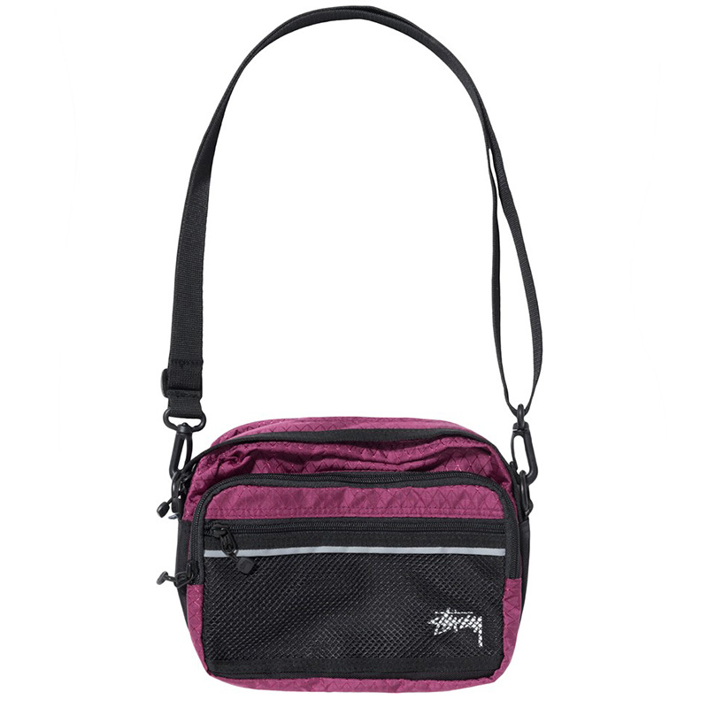 Stussy Diamond Ripstop Shoulder Bag Berry