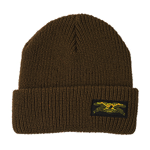 Anti Hero Basic Eagle Label Cuff Cuff Beanie Med Brown/Yellow