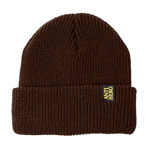 Anti Hero Blackhero Clip Label Cuff Cuff Beanie Dark Brown/Yellow