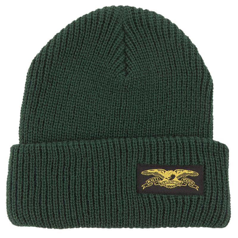 Anti Hero Stock Eagle Label Cuff Beanie Dark Green/Yellow