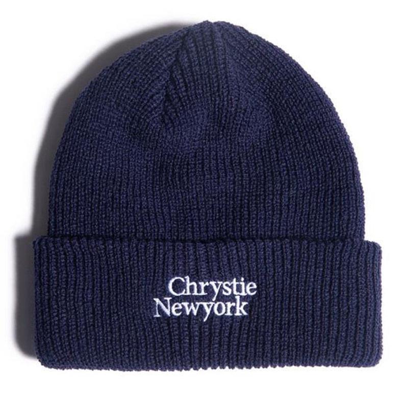Chrystie NYC Classic Logo Beanie Navy