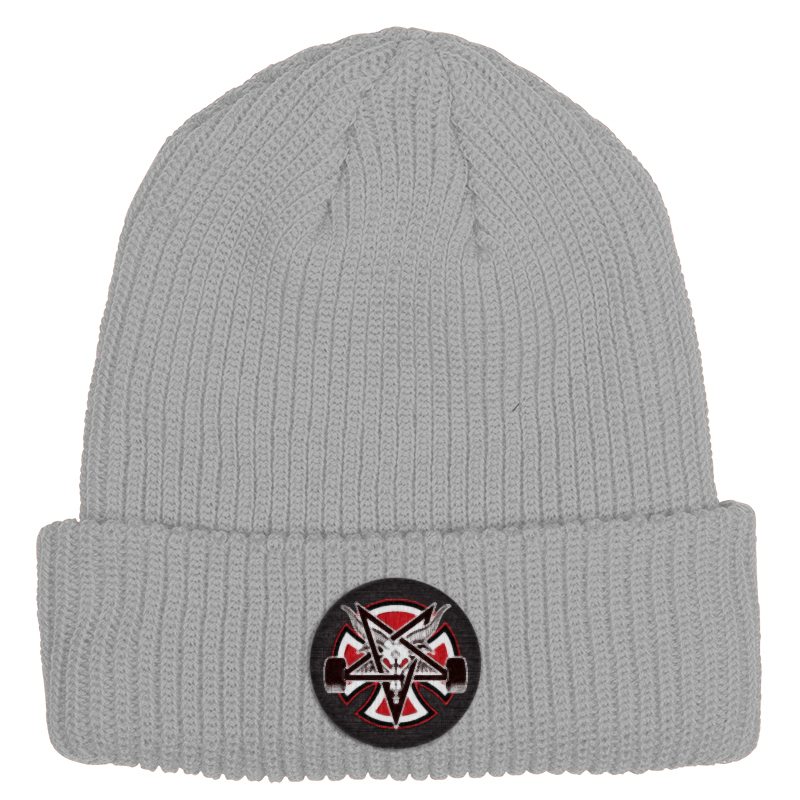 Independent x Thrasher Pentagram Cross Longshoreman Beanie Heather Grey