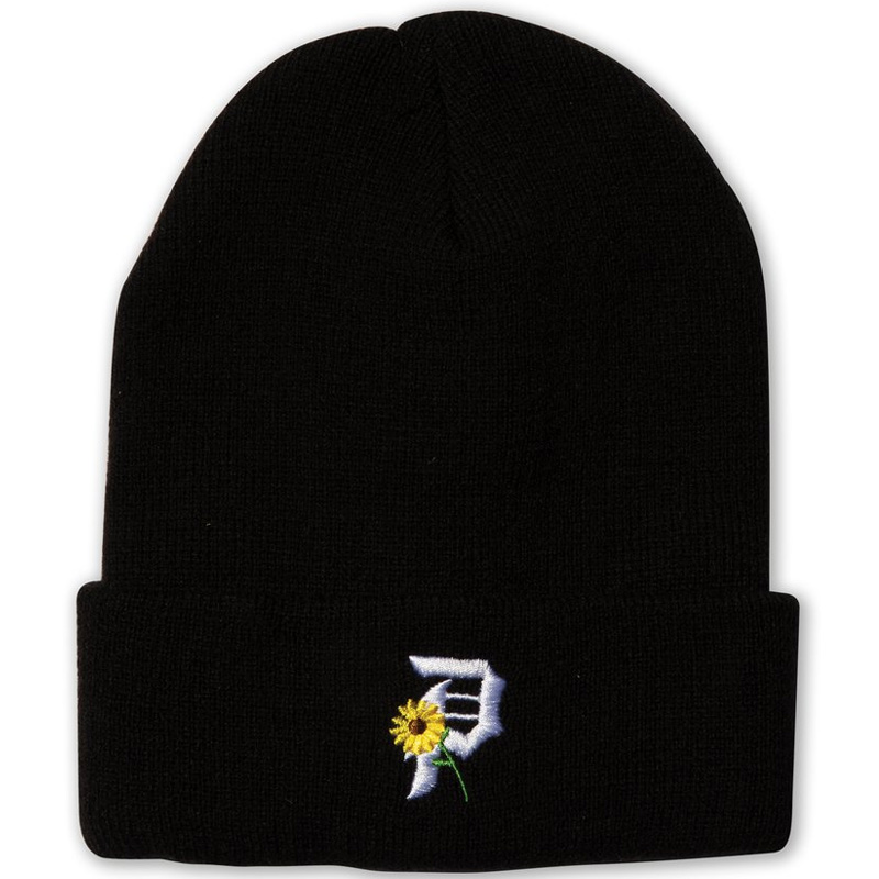Primitive Sunflower Beanie Black
