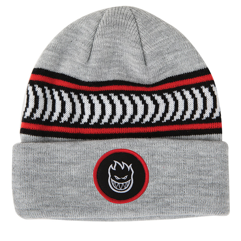 Spitfire Bighead Circle Patch Classic Stripe Cuff Beanie Grey/Black/White