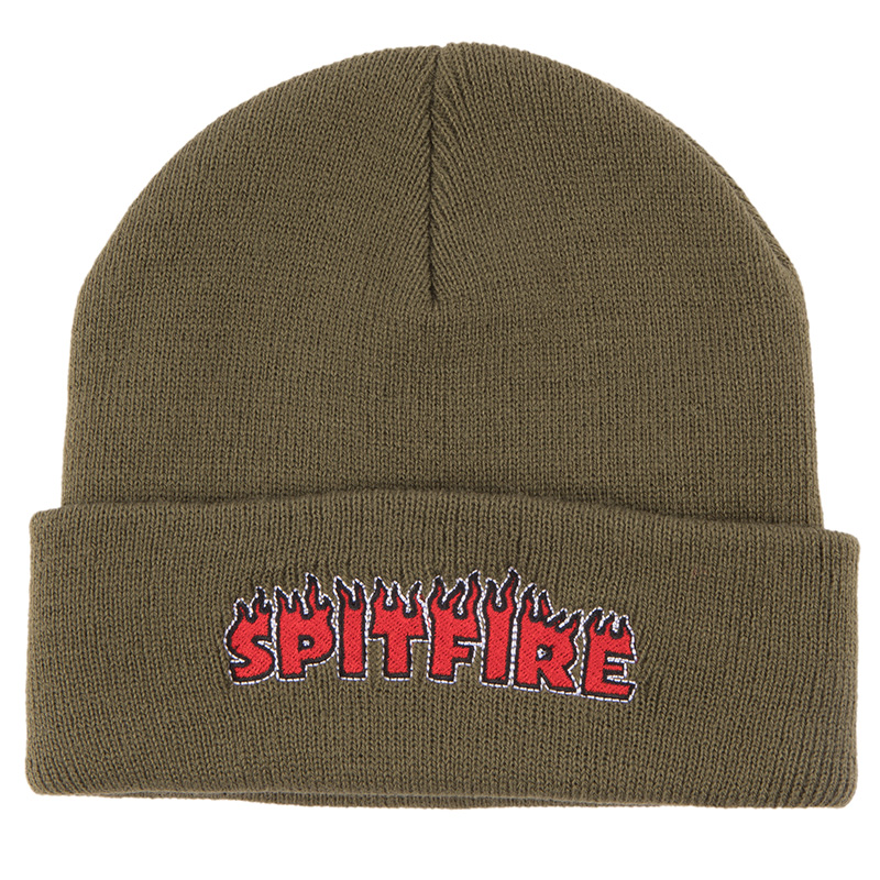 Spitfire Flash Fire Cuff Beanie Olive/Red