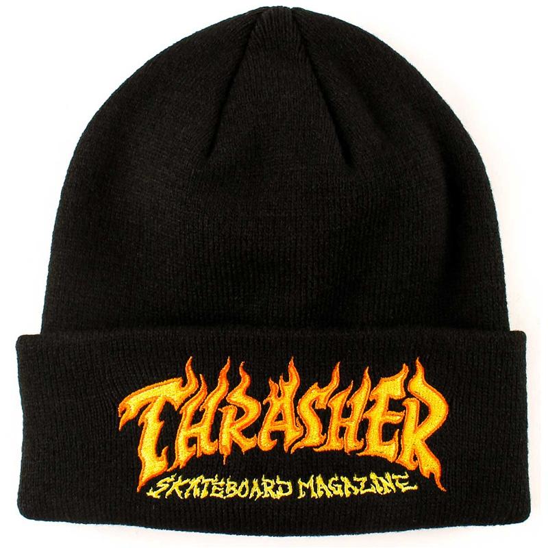 Thrasher Fire Logo Beanie Black