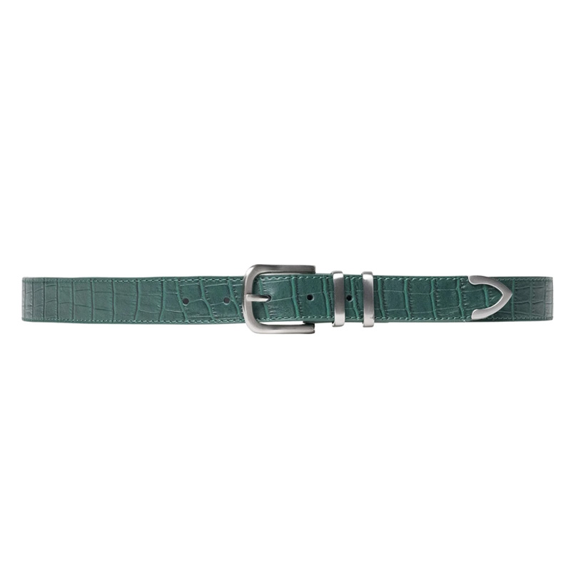 Stussy Gator Leather Belt Green