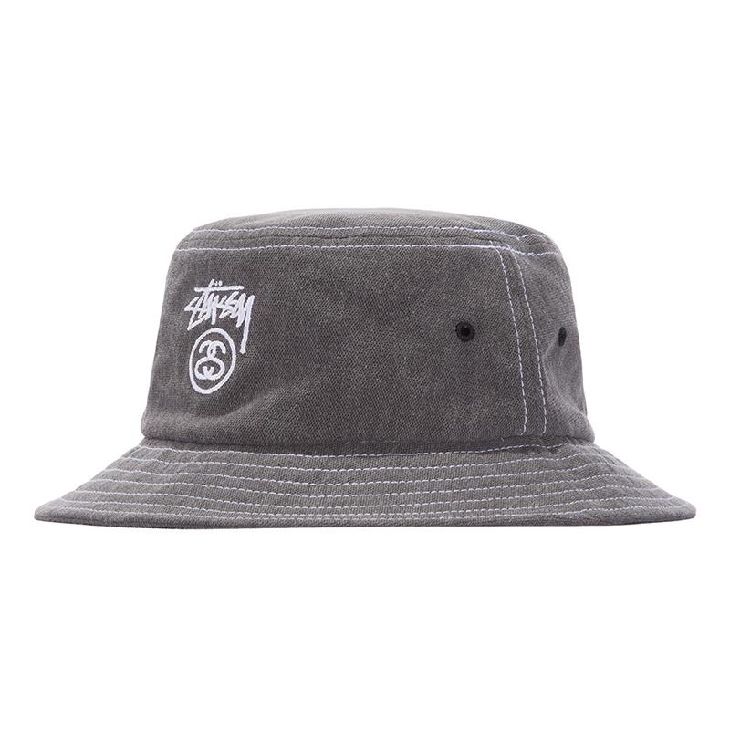 Stussy Washed Stock Lock Bucket Hat Black