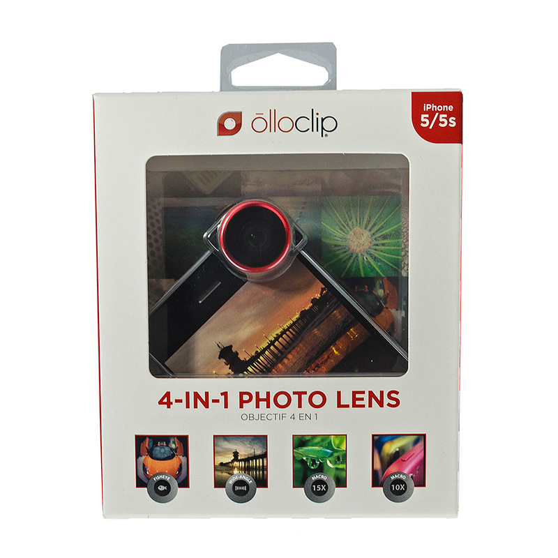 olloclip 5/5S 4-In-1 Lens Fisheye Wide-Angle 2x Macro Red Lens/Black Clip