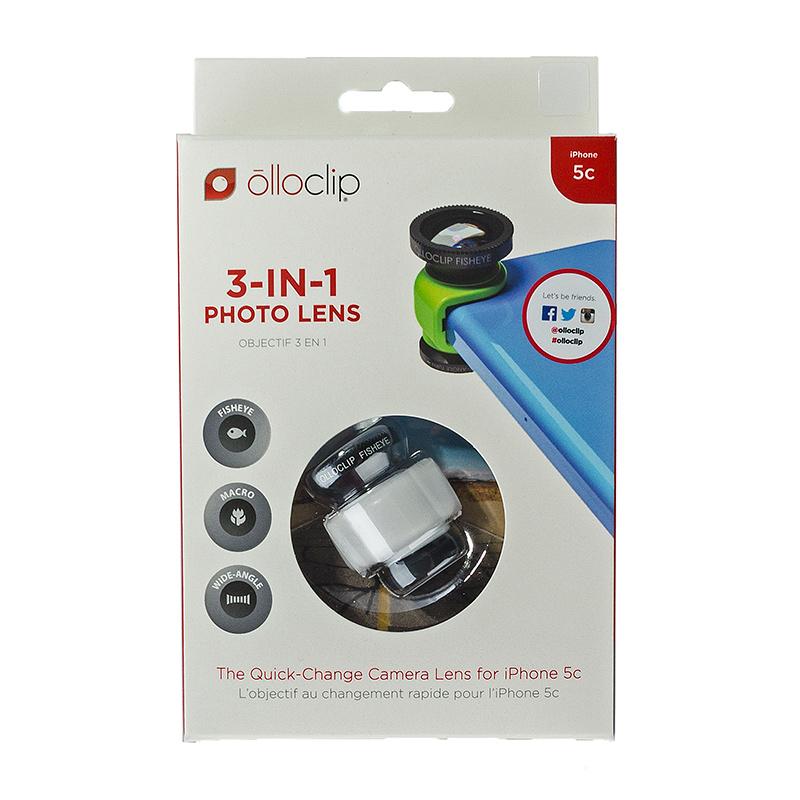 olloclip 5C 3-In-1 Lens Fisheye Wide-Angle Macro Black Lens/White Clip