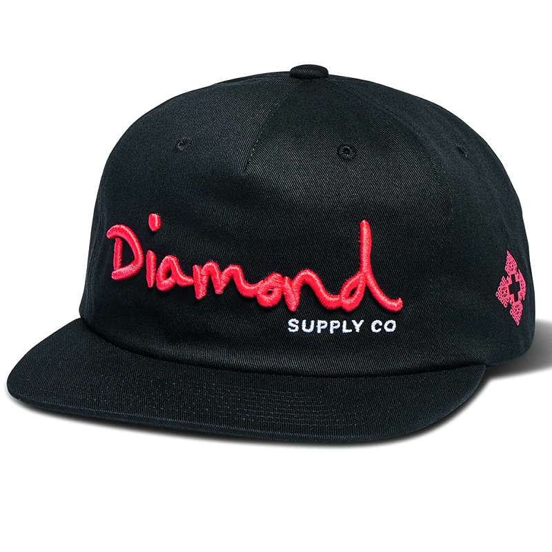 Diamond OG Script Unstructured Snapback Cap Black