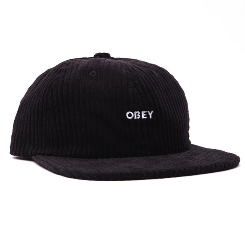 Obey Bold Cord 6 Strapback Cap Black
