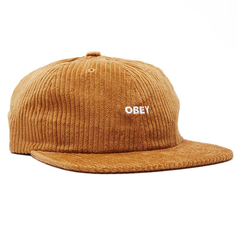 Obey Bold Cord 6 Strapback Cap Khaki