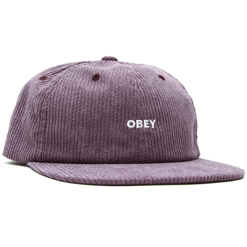 Obey Column 6 Panel Strapback Cap Purple Mountain