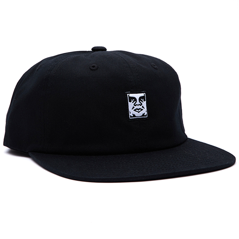 Obey Icon Face 6 Panel Strapback Cap Black