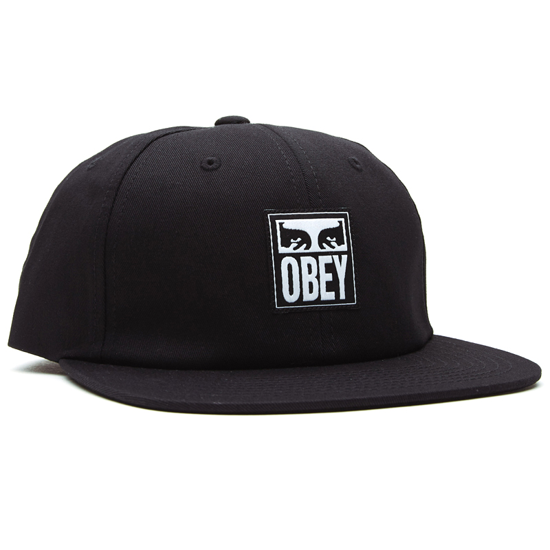 Obey Icon Label 6 Panel Strapback Cap Black