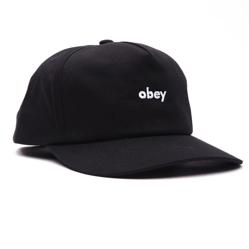 Obey Lowercase Snapback Cap Black
