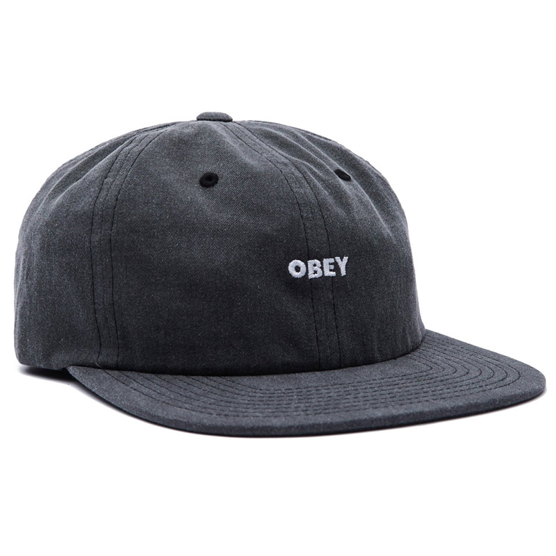 Obey Pigment 6 Panel Strapback Cap Black