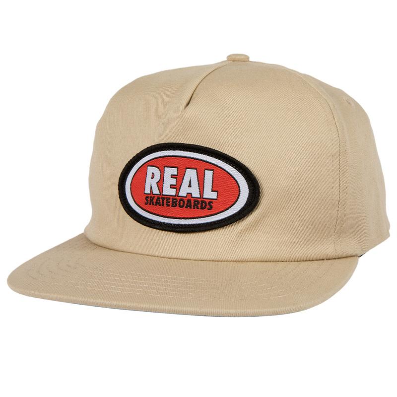 Real Oval Snapback Cap Khaki/Red