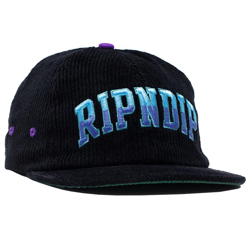 RIPNDIP Team Spirit Embroidered Art 5 Panel Cap Black