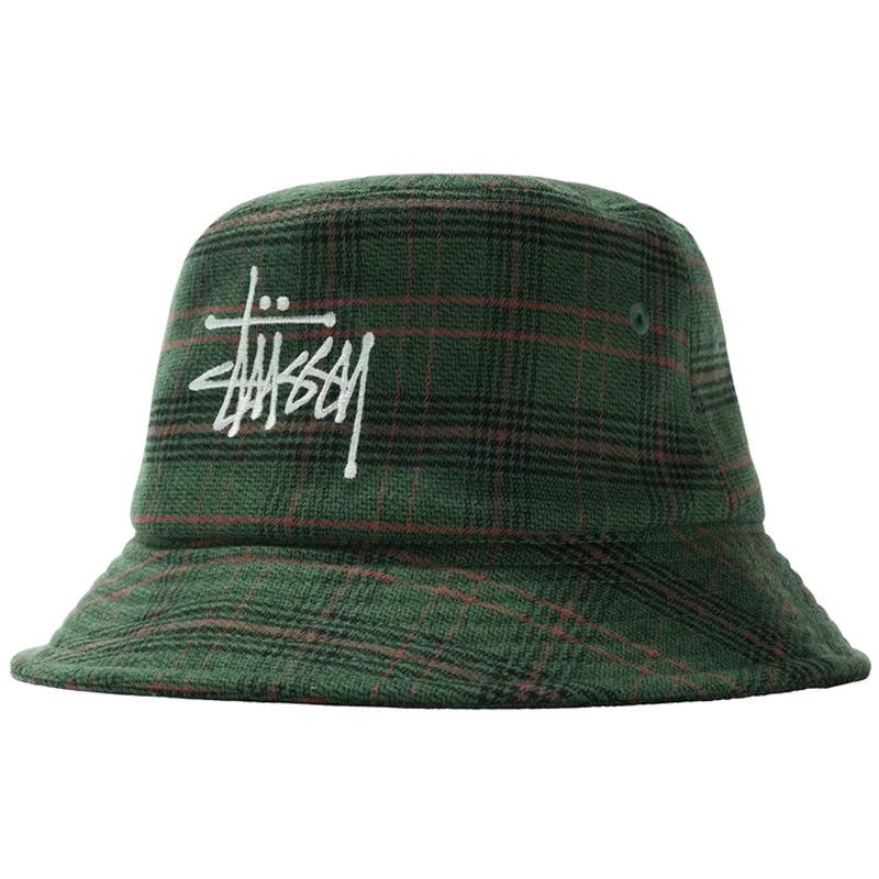 Stussy Big Logo Plaid Bucket Hat Green
