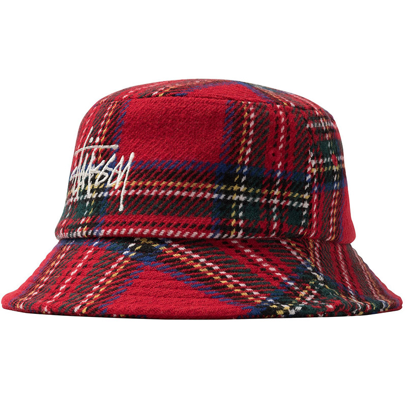 Stussy Big Logo Plaid Bucket Hat Red