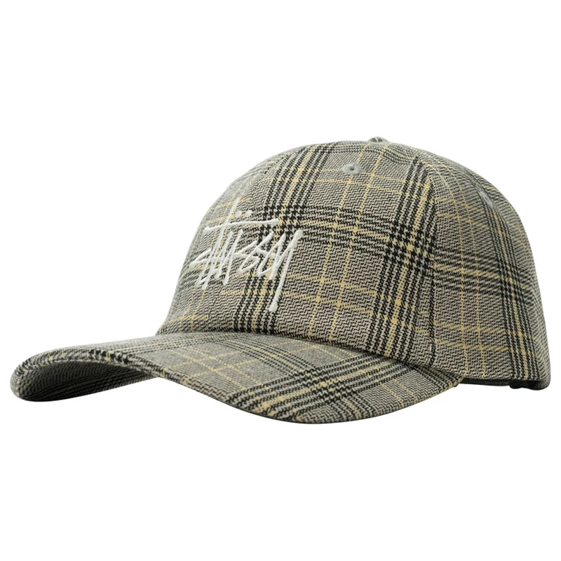 Stussy Big Logo Plaid Low Pro Cap Off White