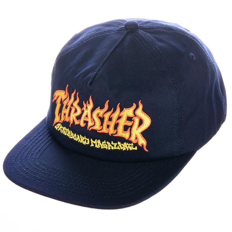 Thrasher Fire Logo Snapback Navy