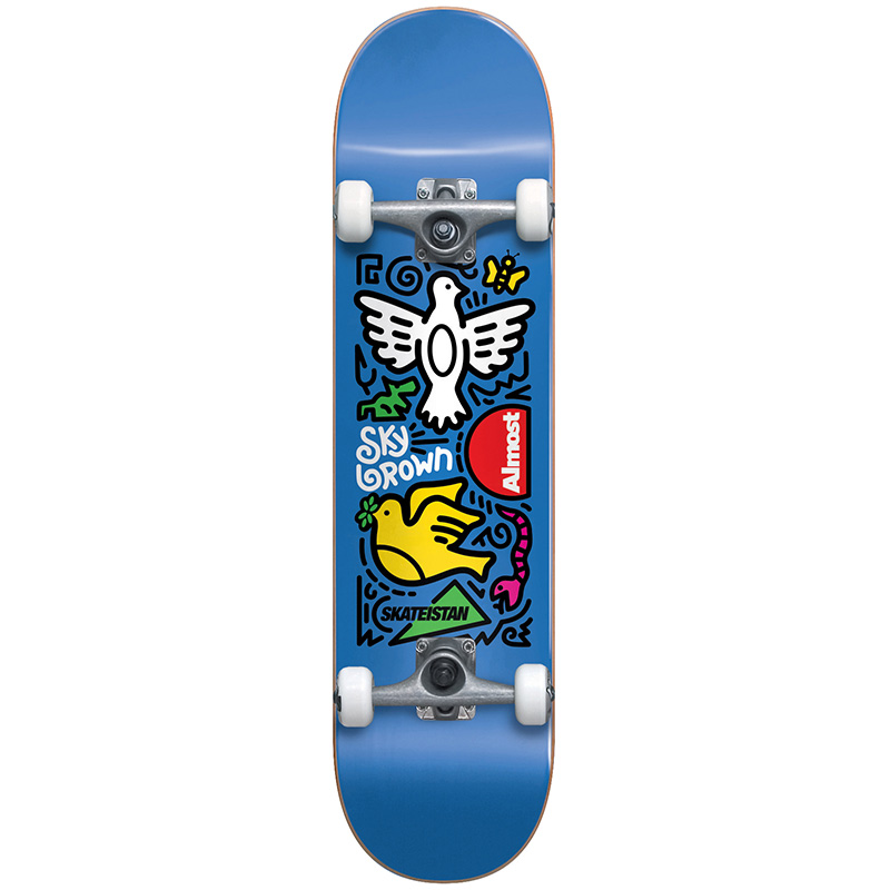 Almost Skateistan Sky Doodle First Push Complete Skateboard Blue 7.5