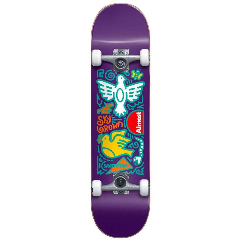 Almost Skateistan Sky Doodle First Push Complete Skateboard Purple 7.875