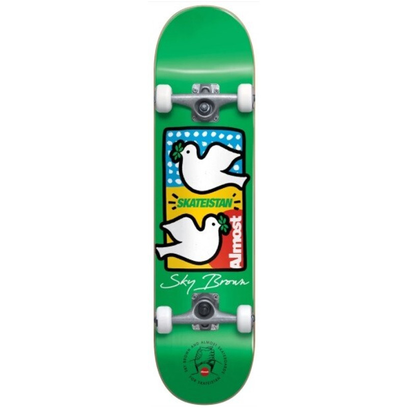 Almost Sky Brown Double Doves Skateistan First Push Complete Skateboard Green 7.5