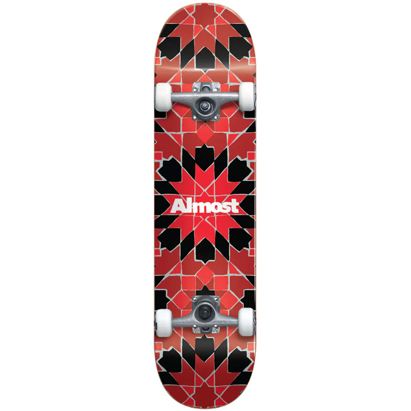 Almost Tile Pattern First Push Complete Skateboard Red 7.75