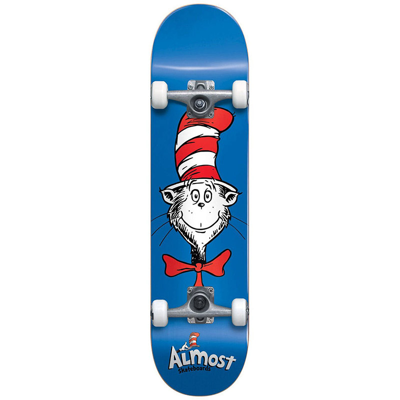 Almost x Dr. Seuss Cat Face First Push Complete Skateboard Blue 7.875