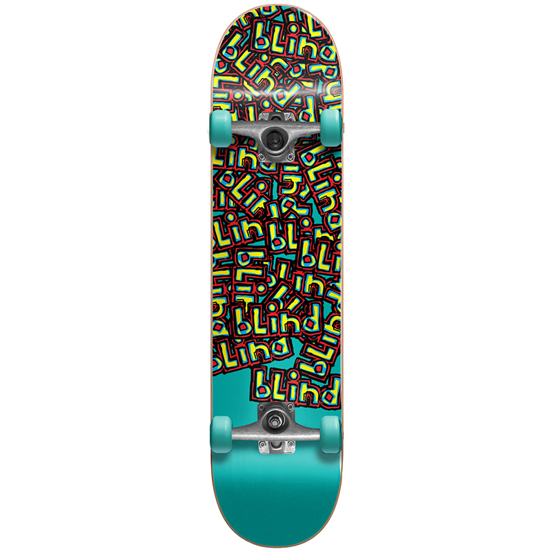 Blind Letter Drop FP Soft Top Youth Complete Skateboard Turquoise 6.5