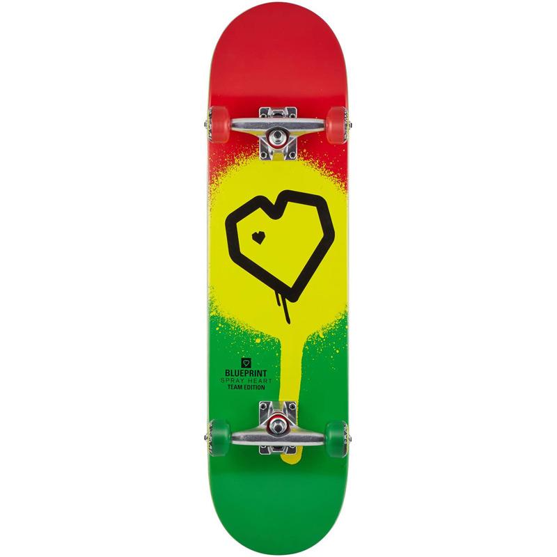 Blue Print Spray Heart Complete Skateboard Rasta 8.0
