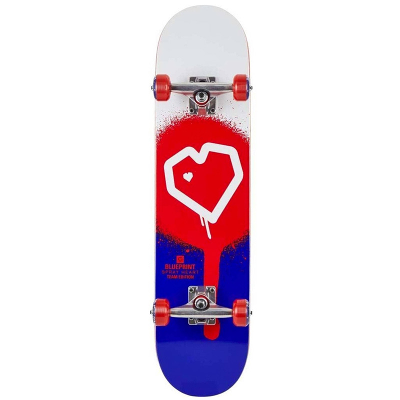Blue Print Spray Heart Complete Skateboard Red/Blue 8.0