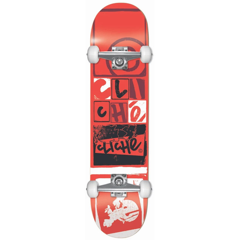 Cliche Letter Press First Push Complete Skateboard Red 8.0