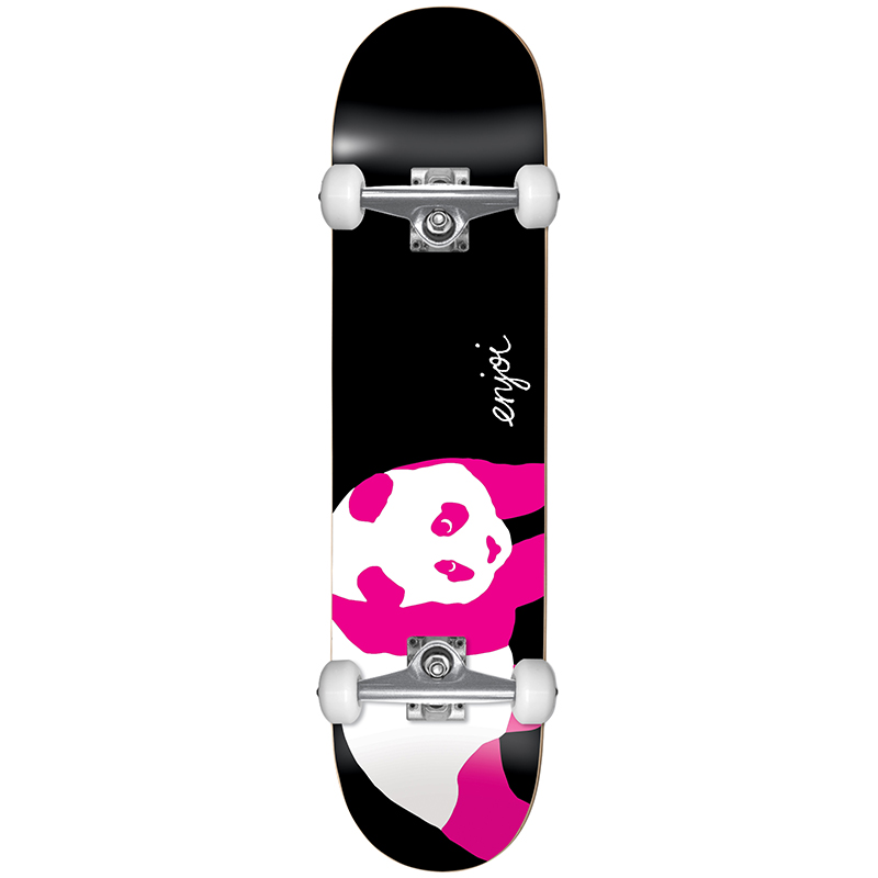 enjoi Pink Black Panda Resin Complete Skateboard Black/Pink 7.75
