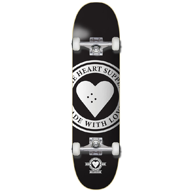 Heart Supply Badge Logo Complete Skateboard Black 8.0