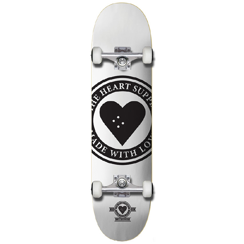 The Heart Supply Badge Logo Complete Skateboard White 8.0