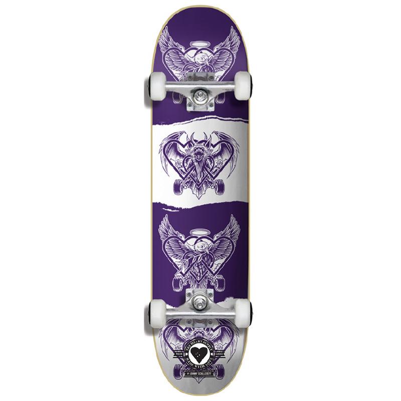 Heart Supply Bam Margera Dark Light Pro Complete Skateboard Purple/White 7.75