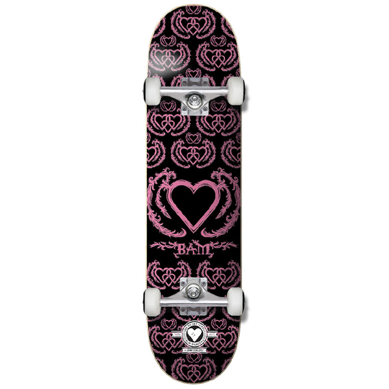 Heart Supply Bam Margera United Pro Complete Skateboard Black/Pink 8.0