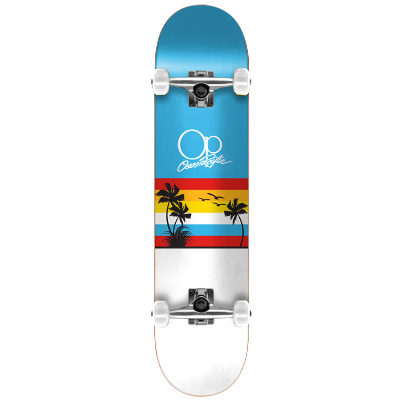 Ocean Pacific Sunset Blue/White Complete Skateboard 7.75