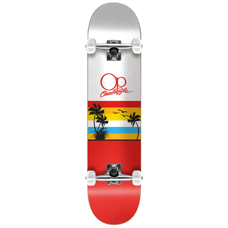 Ocean Pacific Sunset Red/White Complete Skateboard 8.0
