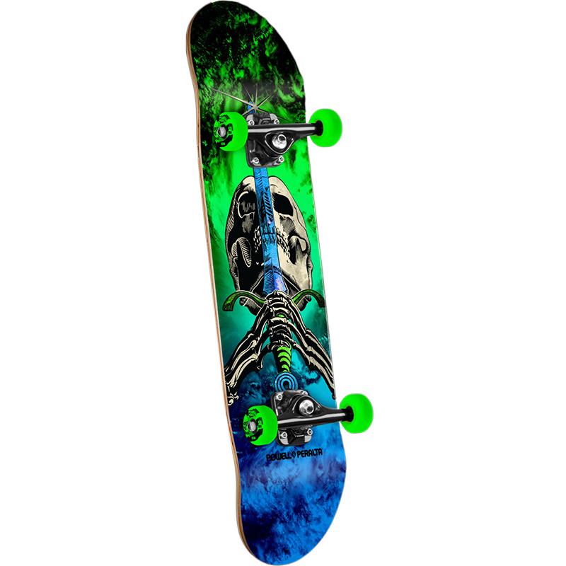 Powell Peralta Skull & Sword Storm Green/Blue Complete Skateboard 7.8