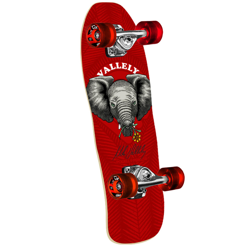 Powell Peralta Vallely Baby Elephant Complete Mini Cruiser Shape 195 Red 59mm x 80a Wheels 8.0